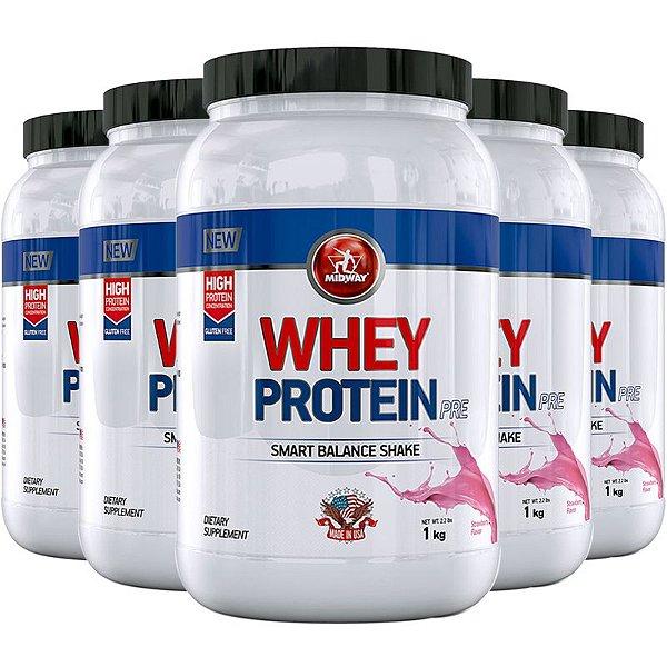 Kit 5 Whey protein PRE Midway 1kg morango