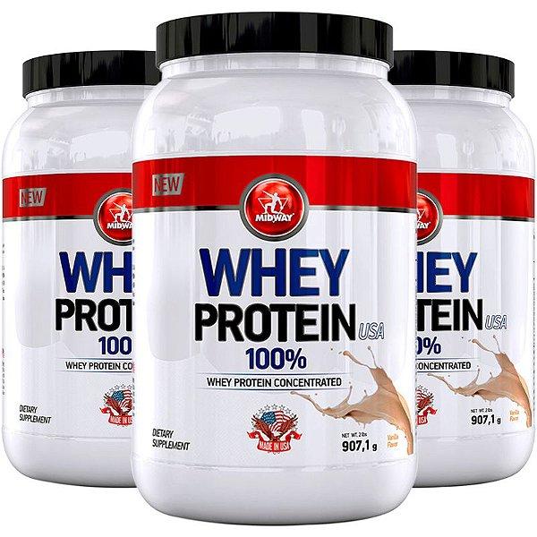 Kit 3 Whey Protein USA Midway 907g Baunilha