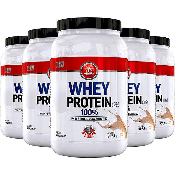 Kit 5 Whey protein USA Midway 907g Baunilha