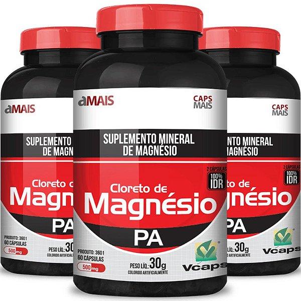 Kit 3 Cloreto de magnésio 500mg Chá mais 60 cápsulas