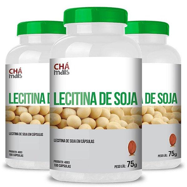 Kit 3 Lecitina de soja 500mg Chá mais 100 cápsulas
