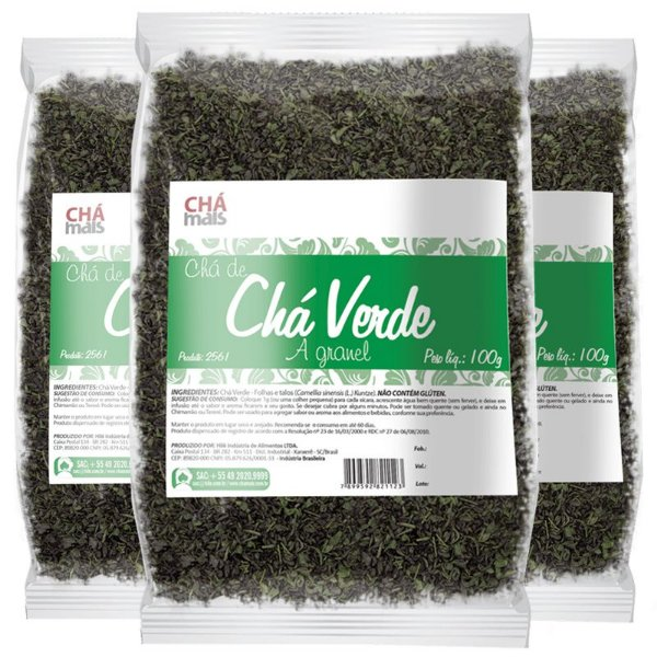 Kit 3 Chá Verde Chá Mais 100g