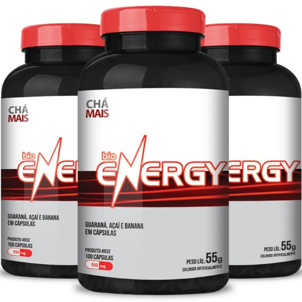 Kit 3 Bio Energy guaraná 500mg Chá Mais 100 cápsulas