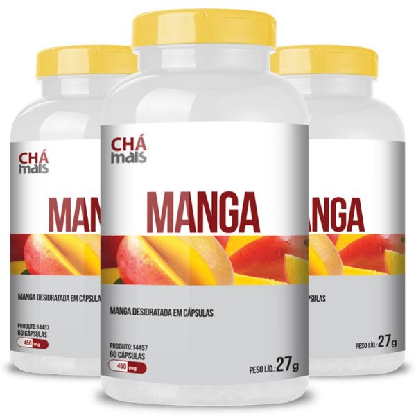 Kit 3 Manga africana 450mg Chá mais 60 cápsulas