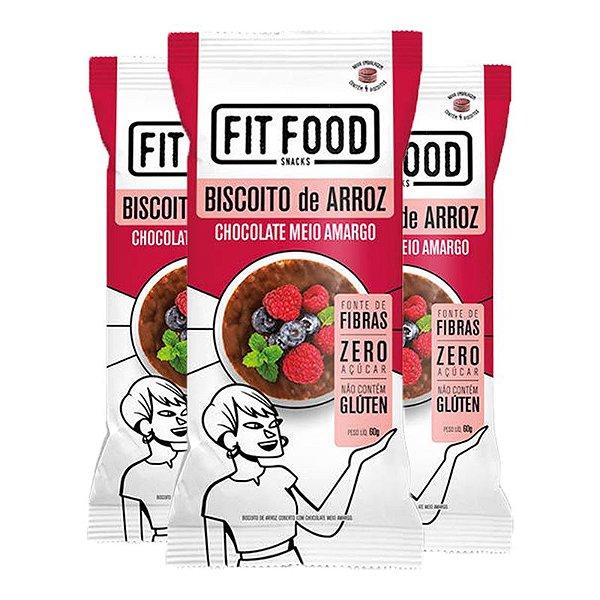 Kit 3 Biscoito de arroz c/ chocolate amargo FIT FOOD 60g