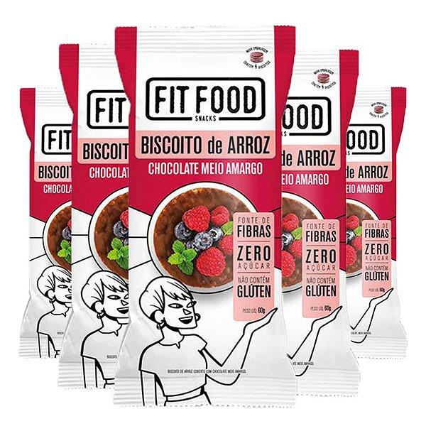 Kit 5 Biscoito de arroz c/ chocolate amargo FIT FOOD 60g