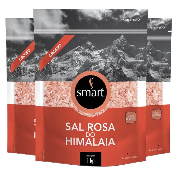 Kit 3 Sal rosa do himalaia grosso SMART 1kg