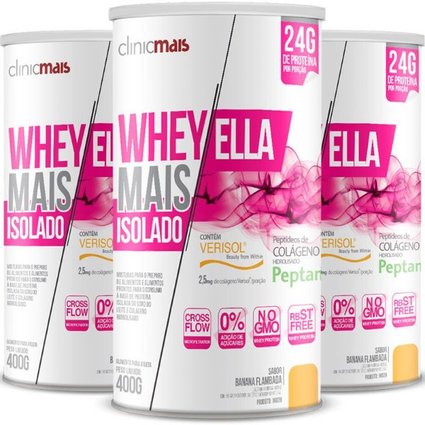 Kit 3 Whey protein isolado Ella 27g Revitá banana flambada 400g