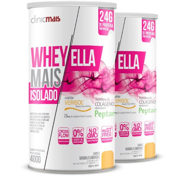 Kit 2 Whey protein isolado Ella 27g Revitá banana flambada 400g