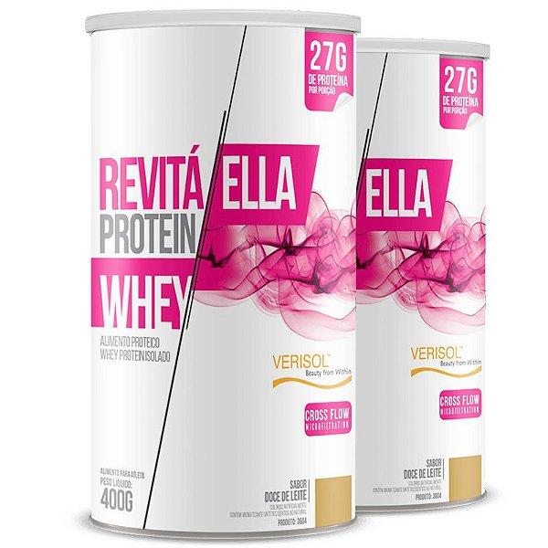 Kit 2 Whey protein isolado Ella 27g Revitá doce de leite 400g