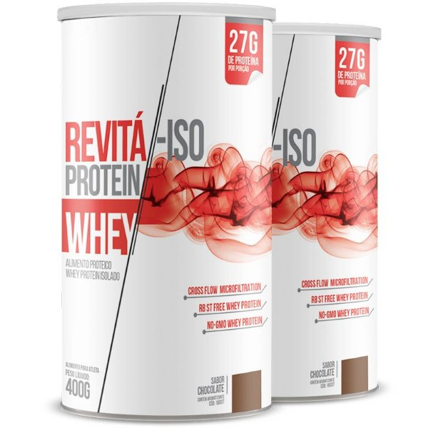 Kit 2 Whey protein isolado 27g Revitá chocolate 400g