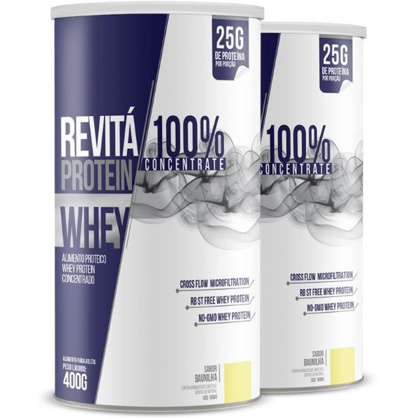 Kit 2 Whey Protein Concentrate 25g Revitá baunilha 400g