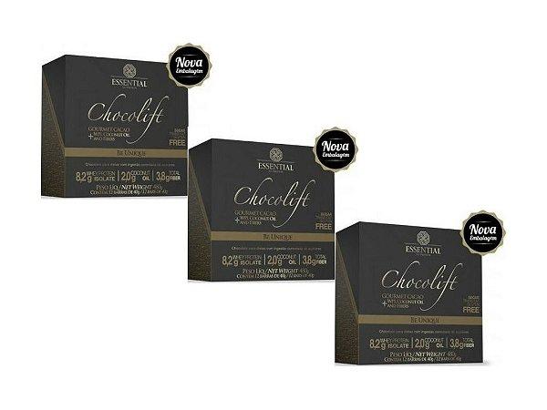 KIT 3 CHOCOLIFT BE UNIQUE ESSENTIAL NUTRITION BOX 12 UNIDADES