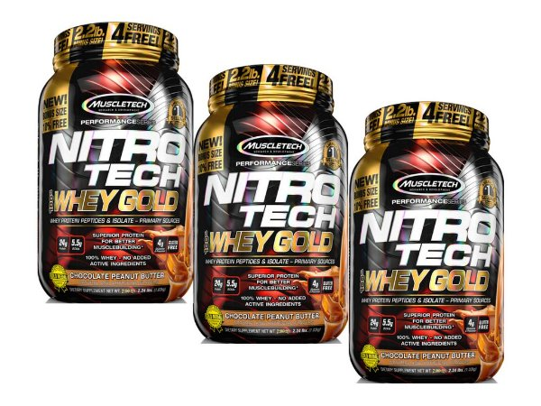 KIT 3 NITRO TECH WHEY GOLD MUSCLETECH CHOCOLATE PEANUT 1,02KG