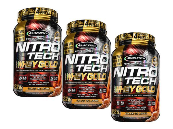 KIT 3 NITRO TECH WHEY GOLD MUSCLETECH DOCE DE LEITE 999G