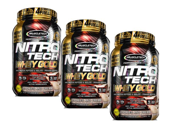 KIT 3 NITRO TECH WHEY GOLD MUSCLETECH COOKIES AND CREAM 999G