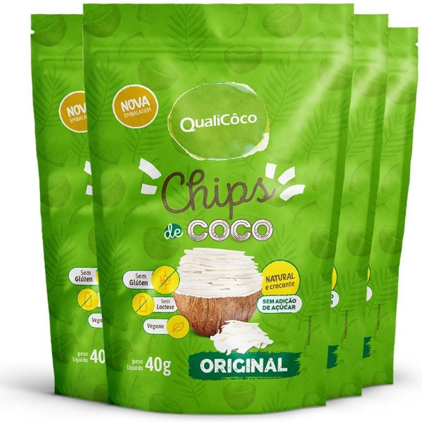 Kit 4 Chips de coco tradicional Qualicôco 40g