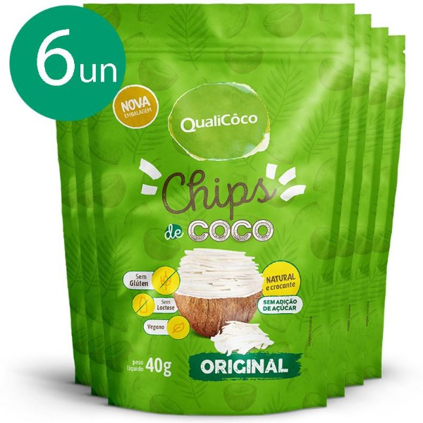 Kit 6 Chips de coco tradicional Qualicôco 40g