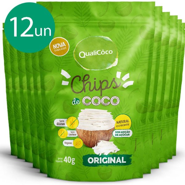 Kit 12 Chips de coco tradicional Qualicoco 40g