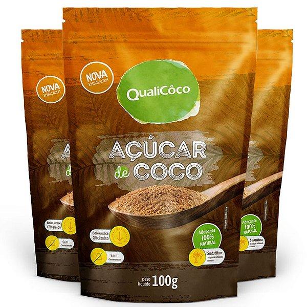 Kit 3 Açúcar de coco natural Qualicoco 150g