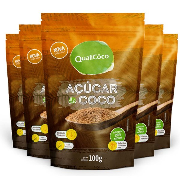 Kit 5 Açúcar de coco natural Qualicôco 150g