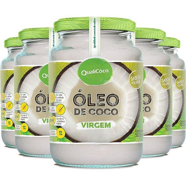 Kit 5 Óleo de coco virgem Qualicôco 500ml