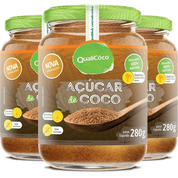 Kit 3 Açúcar de coco natural Qualicoco 280g