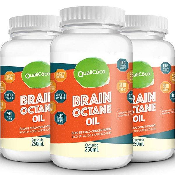 Kit 3 Brain Octane Oil MCT Qualicôco 250ml