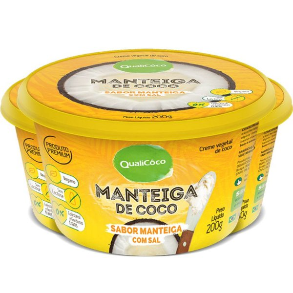 Kit 3 Manteiga de coco natural com sal Qualicoco 200g