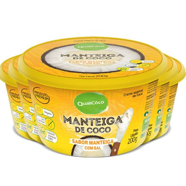 Kit 5 Manteiga de coco natural com sal Qualicoco 200G