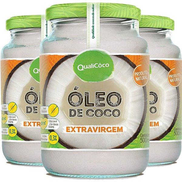 Kit 3 Óleo de coco extra virgem Qualicôco 500ml