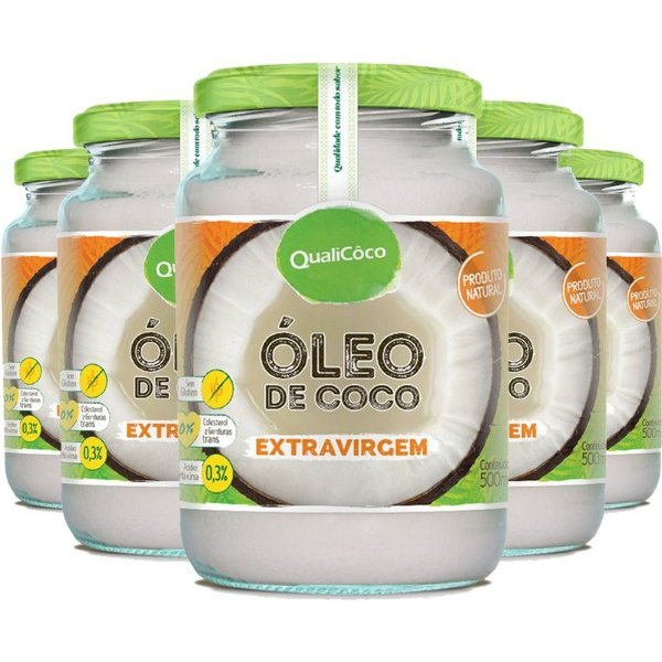 Kit 5 Óleo de coco extra virgem Qualicôco 500ml