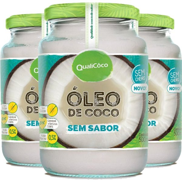Kit 3 Óleo de coco sem sabor Qualicôco 500ml