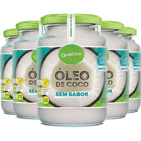 Kit 5 Óleo de coco sem sabor Qualicôco 500ml