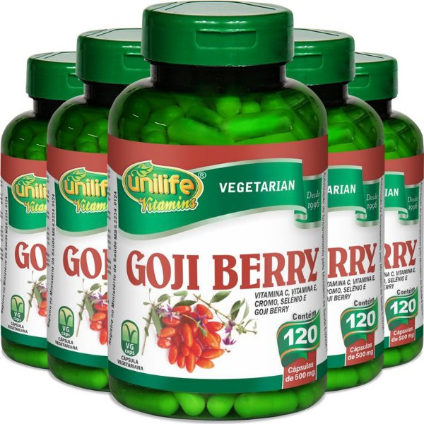 Kit 5 Goji Berry Unilife 120 cápsulas