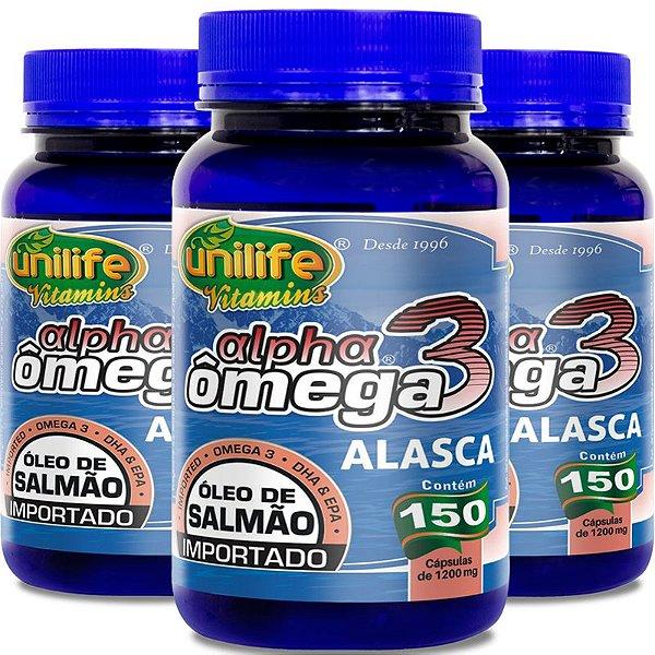 Kit 3 Ômega 3 Alpha Óleo de salmão 1200mg Unilife 150 cápsulas