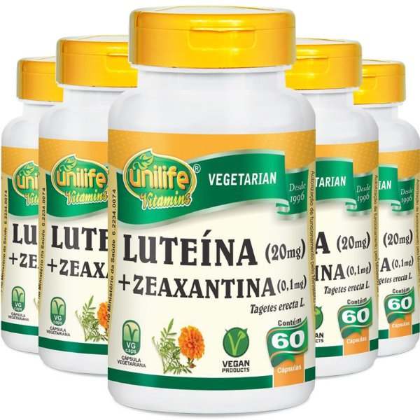 Kit 5 Luteína e zeaxantina Unilife 60 cápsulas