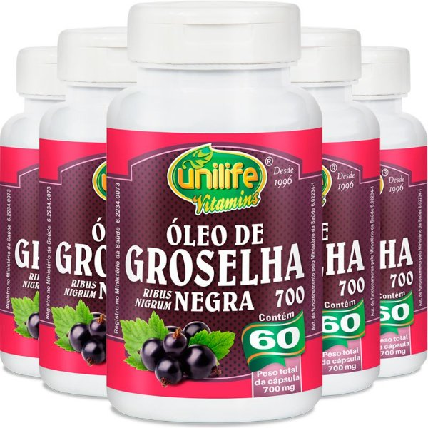 Kit 5 Óleo de groselha negra Unilife 60 cápsulas