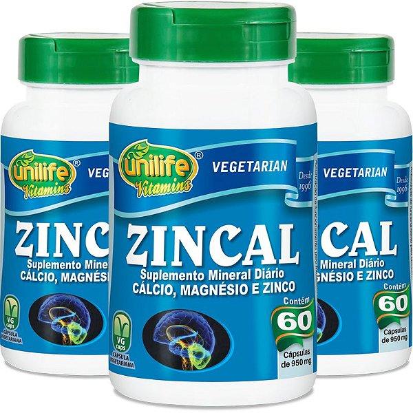 Kit 3 Zincal dolomita com zinco Unilife 60 cápsulas