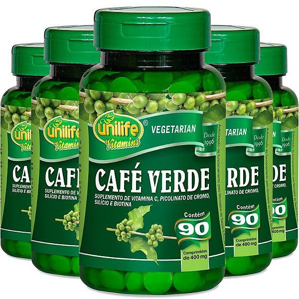 Kit 5 Café verde 400mg Unilife 90 cápsulas
