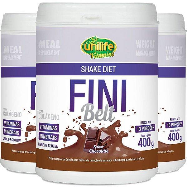 Kit 3 Shake Diet com colágeno Fini Belt Unilife chocolate 400g