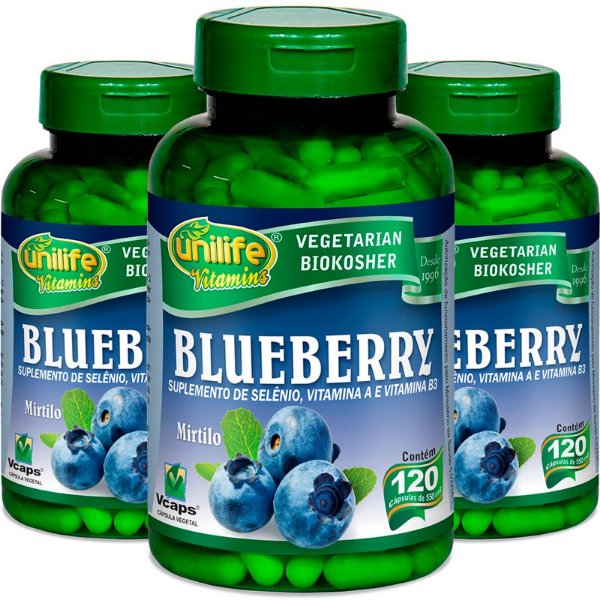 Kit 3 Blueberry Unilife 60 cápsulas