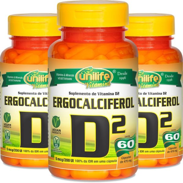 Kit 3 Vitamina D2 Unilife 60 cápsulas