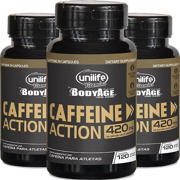 Kit 3 Cafeína 420mg Caffeine Action Unilife 120 cápsulas