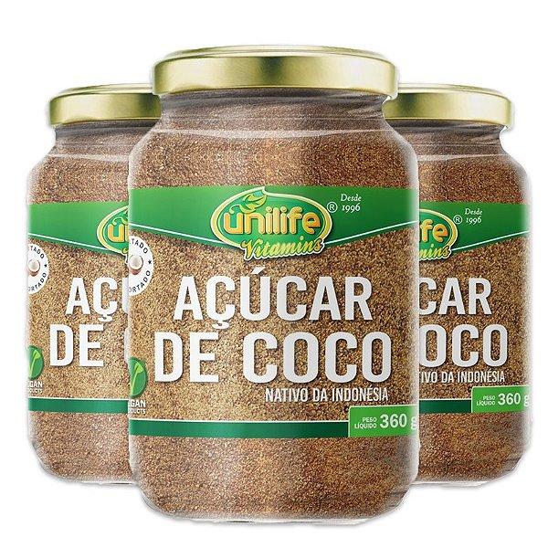 Kit 3 Açúcar de coco Unilife 360g