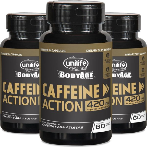Kit 3 Cafeína 420mg Caffeine Action Unilife 60 cápsulas