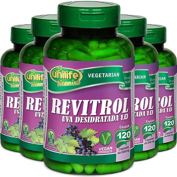 Kit 5 Resveratrol uva desidratada Unilife 120 cápsulas