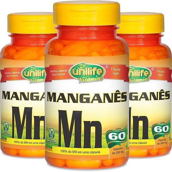 Kit 3 Manganês Quelato MN Unilife 60 cápsulas