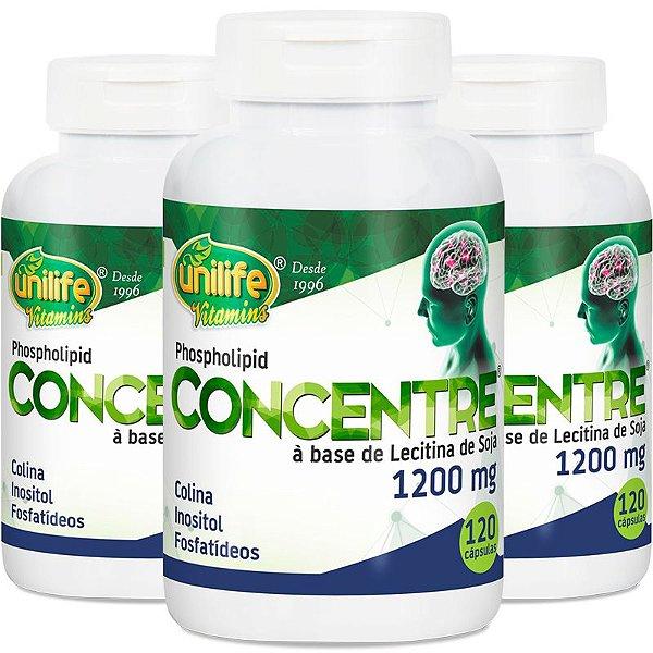 Kit 3 Óleo de lecitina de soja concentre Unilife 120 cápsulas