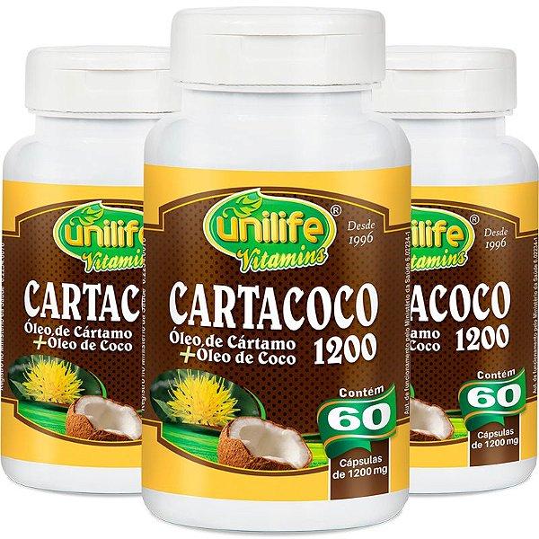 Kit 3 Cartacoco óleo de cartamo e coco Unilife 60 cápsulas
